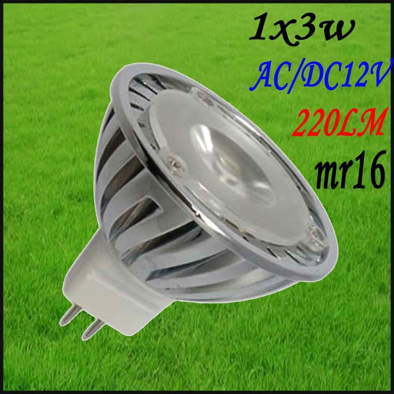 10pcs/lot Free shipping Led Spotlight 1x3w mr16 AC12v DC12v high quality led spot lamp bulb promotion spot lighting(China (Mainland))