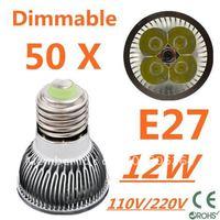 50pcs Dimmable LED High power E27 Base 4x3W 12W led Light led Lamp led Downlight led bulb spotlight FREE FEDEX and DHL