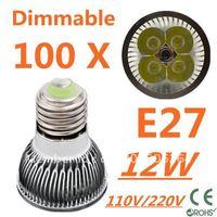 100pcs Dimmable LED High power E27 Base 4x3W 12W led Light led Lamp led Downlight led bulb spotlight FREE FEDEX and DHL