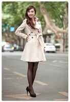 New Fashion Women Slim Double breasted  Coat Casual Trench Long Outwear Free Shipping ladies' overcoat fashion clothing