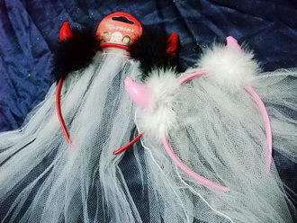 Halloween party demon bridal veil horn devil horn hair accessory headband hair bands(China (Mainland))