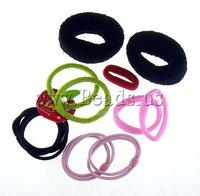Free shipping!!!Hair Elastic,tibetan, Nylon, mixed, 10-34mm, 10Bags/Lot, Sold By Lot
