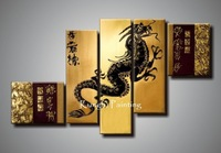 100% hand painted dragon framed oil painting wall art canvas 5pcs  oil painting art painting