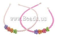 Free Shipping 60PCs/Lot Mixed Colors Children  Hair Bands, iron band, glass pearl beads & butterfly shape resin beads ornament