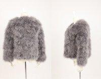 FREE SHIPPING  fashion women's geniune ostrich fur feather  winter outerwear geniune fur coat short design