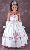 Embroidery White Lace Up Flower Girl Gowns Floor Length