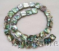 8SE02150a  12mm Paua Abalone Shell Square Beads 15.5''