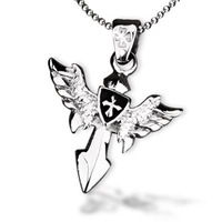 Bahamut Blazing Uriel Angel Cross Necklace Pendant Free With Chain-Titanium Steel