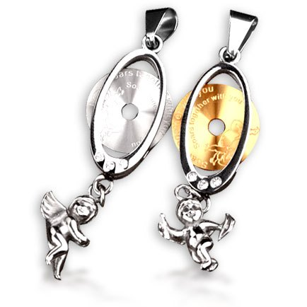 Bahamut Cute Little Angel Cupid Eros Lovers Necklace A Pair Of