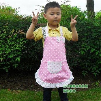 Free shipping latest design cotton pink white cloth apron Polka Dot apron children kitchen apron