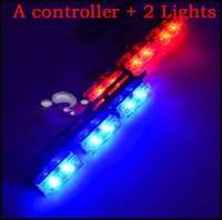 Car Flash Lamp 1 Controller + 6 Lights Blue and Red Color Super Bright High Power Led Auto Warning Indiactor Lights Lamp