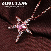 ZYN024 Multicolour 7 plum blossom 18K Gold Plated Pendant Necklace Jewelry Austrian Crystal SWA Elements