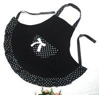 Free shipping latest design cotton black cloth apron the fashion Polka Dot apron kitchen apron
