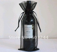 Free Hong Kong Post 200 Pieces 14*36cm Black Wine Bottle Organza Bags Wedding Party Christmas Candy Gift Bags