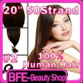 Pre Bonded Remy 100% Human Hair Extensions 20&quot; Nail U Tip 50 Strands #2 Dark Brown Free Shipping