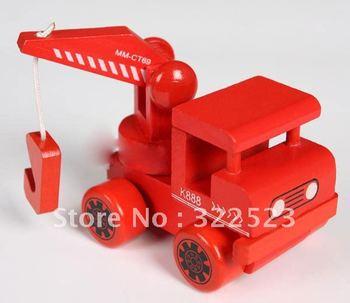 Best selling!! Children's wooden truck crane construction toys blocks set Free shipping 1 pcs
