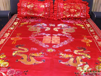 Colorful woven damask jacquard silk bed sheets bedspread bed cover