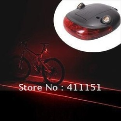 Free Shipping Bicycle Bike Cycling 2012 New 5 LED Laser Beam Rear Tail LED Red Light Lamp(China (Mainland))