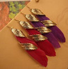 Vintage gold leaf and feather earrings 2013 fashion drop earrings for women small   wholesale charms  TJ-4.99