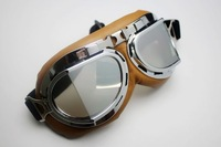 Wholesale Aviator Pilot Cruiser Motorcycle Scooter ATV Goggle Eyewear T08Y Silver Lens free shipping