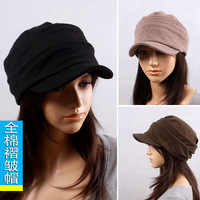 Free shipping 2012 autumn and winter women's cadet  trend fashion 100% cotton pleated cap  casual military hat