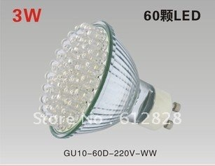 [Free shipping] 10pcs/Lot GU10 60 LED 3W 220V-240V Warm White or Cool White Spot Light Bulb Wide Degree