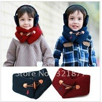 free shipping Children autumn winter horn button wool double reinforced scarf
