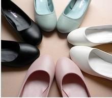 Mushroom plain round toe single shoes sweet single shoes candy color flats women's shoes elevator white(China (Mainland))