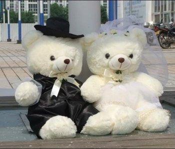 "New 2pcs Wedding Dress White Black Couple Bear Stuffed Plush Toy 17"""