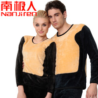 Thermal underwear double layer thickening plus velvet golden flower male women's o-neck thermal set