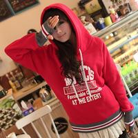 Женские толстовки и Кофты 2013 women's autumn cartoon bear with a hood pullover slim thickening fleece/ plus size/ loose sweatshirt