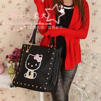 Hello kitty funky divas women black large capacity work shoulder bags handbags nappy tote bags
