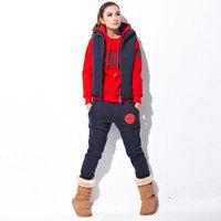 2012 autumn and winter women new arrival thickening fleece with a hood sweatshirt three pieces set sweatshirt outerwear