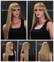 Brand New 2012 newest gold big straight long of holiday hair wig,free shipping