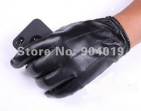 Mens Genuine Leather Lambskin Winter Warm Driving Riding Wrist Gloves Black 3 lines