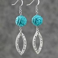 Turquoise earrings fashion vintage personality tassel women long design earrings