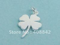 Min order $5 Free shipping 925 Sterling Silver 18*13mm FOUR-LEAF CLOVER Charm Pendant PB58 DIY jewelry Fit Bracelet Earrings