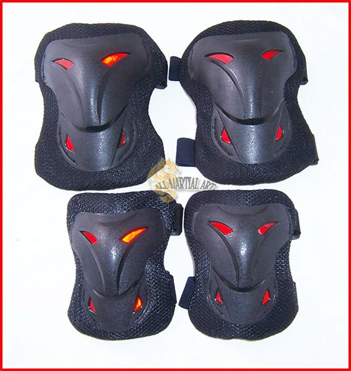 Free Shipping Set of Extreme Sports Ski Snow Boarding Skate Bicycle Protective Knee & Elbow Pads Guard Black / Red (OS010) !!(China (Mainland))