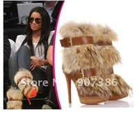 Home > Store Home > Products > women ankle boots red bottoms brown leather real fur high heel winter now boots clearance sale