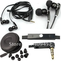 "NEW 3.5mm Strong bass "" 8 "" earplugs black Earphone Headphone Earbud WIth microphone talk volume control for iphone 4 4th 4s"