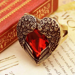 Min.order is $12(mix order)Fashion Rubine Finger Ring Antique Heart Angel Wing Rings Heart Shaped Promise Ring AR120(China (Mainland))