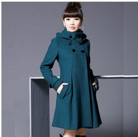2012 new arrival outerwear double breasted women's slim medium-long cashmere woolen overcoat