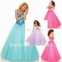 Exotic Sweetheart Ball Gown Drop Waist Floor-length Aqua Light Purple Pink Tulle Boning Beaded Sequin Princess Prom Dresses