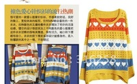 2012 autumn new han love pattern hollow out contrast color knit unlined upper garment overall sweater female