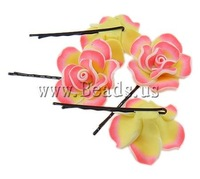19 USD Free Shipping Hair Slide, iron setting, polymer clay flower, Sold by Bag