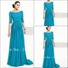 Top selling Fashion off the shoulder Court train turquoise mother long sleeves lace evening dress