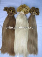 Fahion!Hot selling pre-bonded/U-tip/nail 100% Brazilian hair extension any color&any length