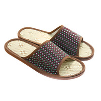 FREE SHIPPING Derlook mantianxing linen slippers summer breathable sandals at home slippers rattan straw mat fabric