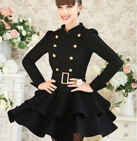 Free shipping 2012 Newest Women slim warm long sleeve dress for winter, lady noble slim double-breasted dress with belt, S M L