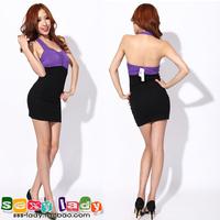 Free Shipping Ladies elegant high waist racerback dress slim hip halter-neck color block fashion one-piece dress 2012 autumn